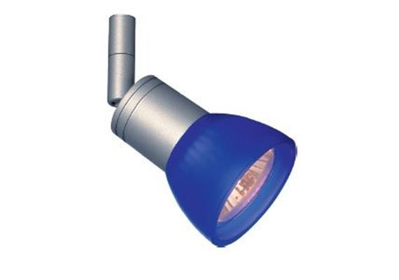 Aufbaustrahler Cano nickel poliert 5W mit Glas blau 230V/ GU10 35-50W / für M10x1