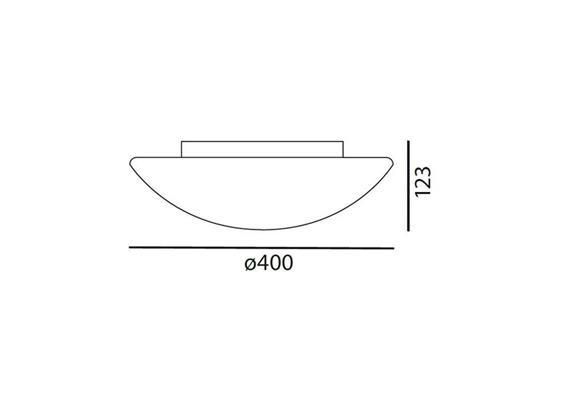 Decken- / Wandleuchte LUNA 40 LED 18W weiss matt LED 18W 3000°K H=123 D=400