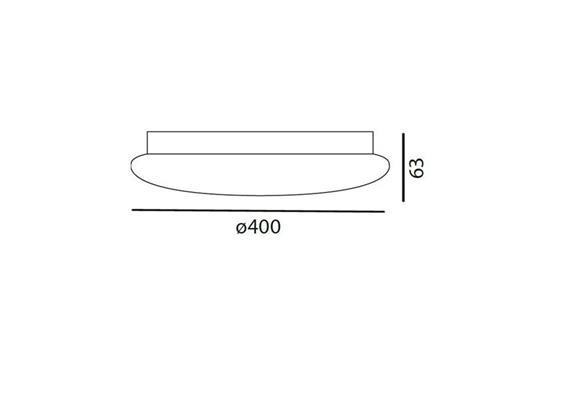 Decken- / Wandleuchte SOLO 40 LED 26W weiss matt LED 26W 3000°K H=63 D=400