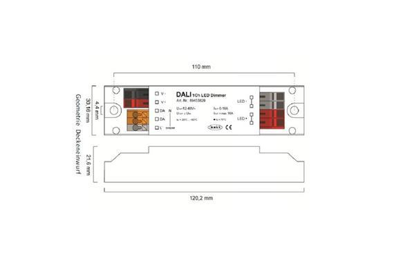 Dimmeinheit LN DALI 1Ch LED 24V /144W  12-48V/ 6A PWM L=122 B=30 H=22 IP20