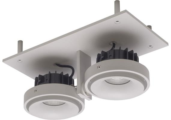 Eb-Strahler randlos 240x120 LED 2x9.3W 45° silber 240V 3000K 2x705lm CRI90 500mA IP20