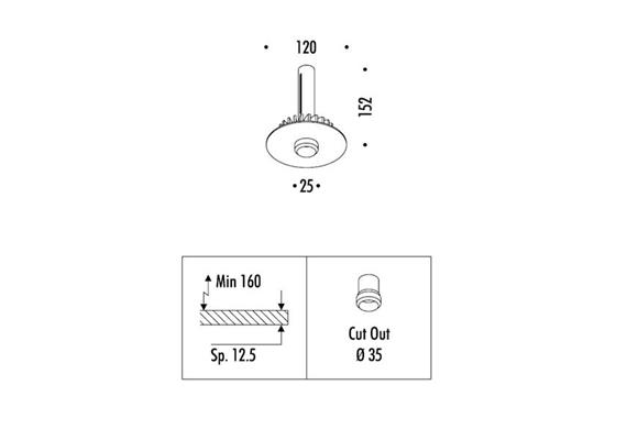 Einbau-Kit mit Flansch für NULLA 25  D=125mm mit Kühlkörper