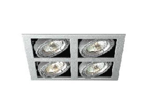 Einbaul. 4fach kardanisch Silber schwenk-richtbar 30°  mit Bajonettverschl. für PAR16 IP20