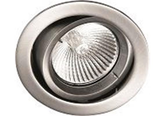 Einbaul. schwenkbar 30° nickel satin. 12V Gx 5.3 / 20-50W Ausschnitt=70mm / D=80mm