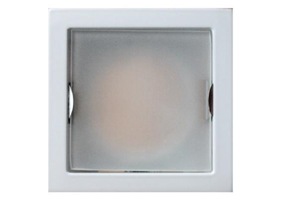 Einbauleuchte 85x85 silber mit Glasabdeckung matt 12V/GU5.3 20-50W / ET=90mm AS=73x73