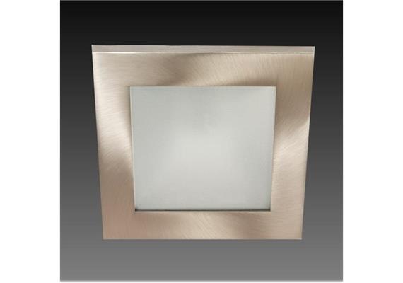 Einbauleuchte 90x90mm alu gebürstet /Glas matt  12V Gy 6.35 20-50W IP44/AS=76x76 ET=110