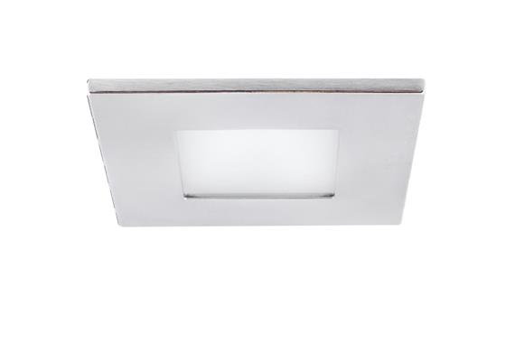 Einbauleuchte 90x90mm LED 10W Glas matt /mattchrom 10W COB 2700*K AS=76mm ET=110 / IP44