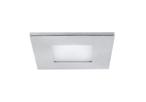Einbauleuchte 90x90mm R /IP44 Glas matt /chrommatt 12V Gy 6.35 20-50W IP44/AS=80mm ET=110