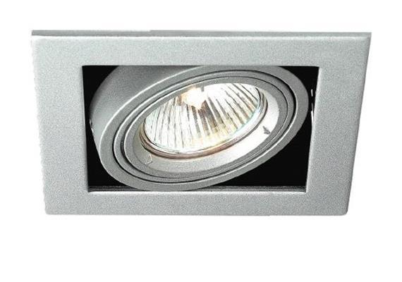 Einbauleuchte Kardanisch Silber-schwarz mit Bajonettverschl. für PAR16 As=96x96mm IP20