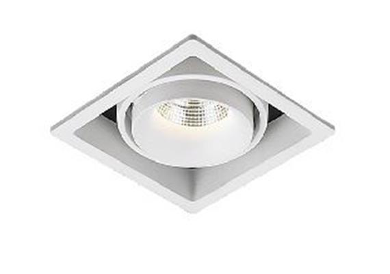 Einbauleuchte LED 1x9.3W 3000°K silber-schwarz 45° 230V/24V/500mA DC/L=105x105 H=90