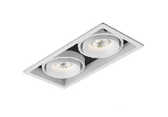 Einbauleuchte LED 2x9.3W 3000°K weiss/schwarz/weiss 45° 230V/24V/500mA DC/L=198 B=105 H90