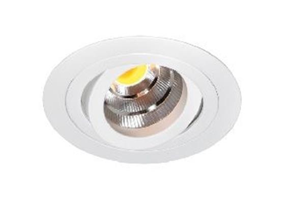 Einbaustrahler LED 10.5W 3000°K schwenk. alu geb.  LED 10.5W/500mA/AS=80mm/H=102mm/D=92mm