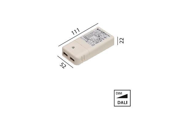 Elektr. Konverter 10W-20W DALI 220-240V L=111 B=52 H=22