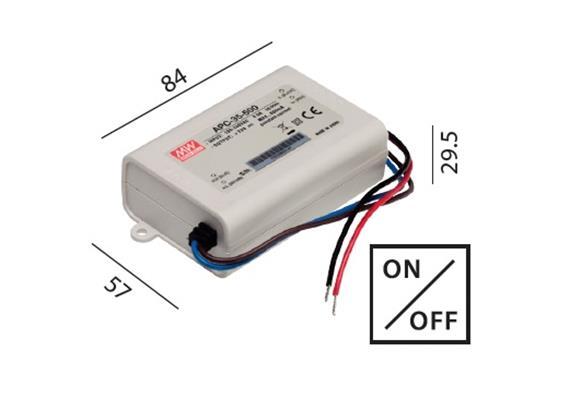 Elektr. Konverter LED DC 10-35W/350mA 220-240V / L=84 B=57 H=29.5