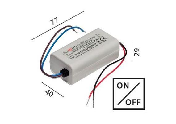 Elektr. Konverter LED DC 3-12W/350mA 100-240V/ 9-36V/ IP30