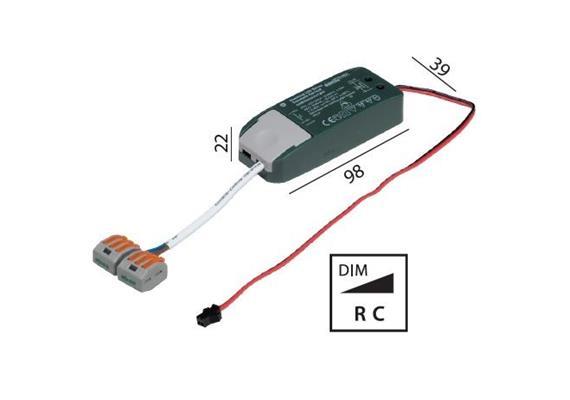 Elektr. Konverter LED DC 6-12W/500mA dimmbar 220-240V/ 12-24V 500mA