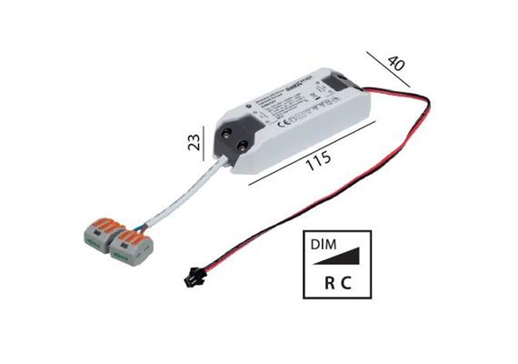 Elektr. Konverter LED DC 6-12W/500mA dimmbar 220-240V/ 500mA L=115 B=40 H=23 / IP20