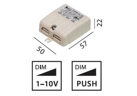 Elektr. Konverter Micro 6W 500mA 1-10V- Push 220-240V/ 12V 500mA / L=57 B=50 H=22