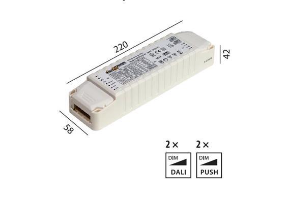 Elektr. Multi Konverter DC HY 2x30W DALI 220-240V L=220 B=58 H=42 IP20