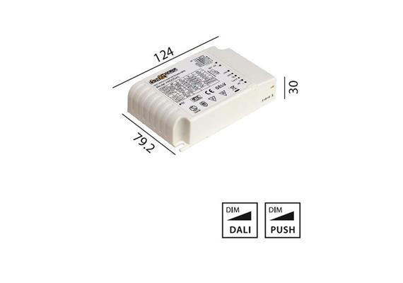 Elektr. Multi Konverter DC HY 40W DALI  220-240V L=124 B=79.2 H=30 IP20
