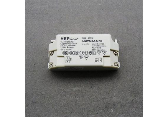 Elektronischer LED Konverter 1-8W/ 350mA DC weiss 100-230V/ 1-8W / L=85 B=40H=25
