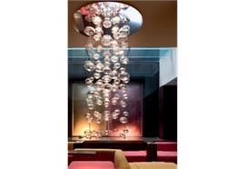 Hängeleuchte Ether S H=85 Kristallglas 240V/12V G5.3 5x50W Stahl glänzend