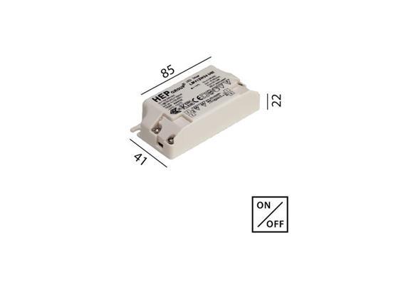 Konverter 24V/DC 12W für LED KV  230V/24V L=85 B=41 H=22