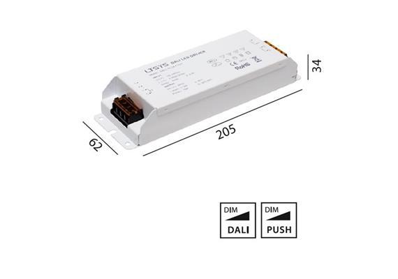 Konverter 24V LED 36W DALI-Touch DIM weiss  240V/ 6.25A / L=175 B=44 H=30 / IP20