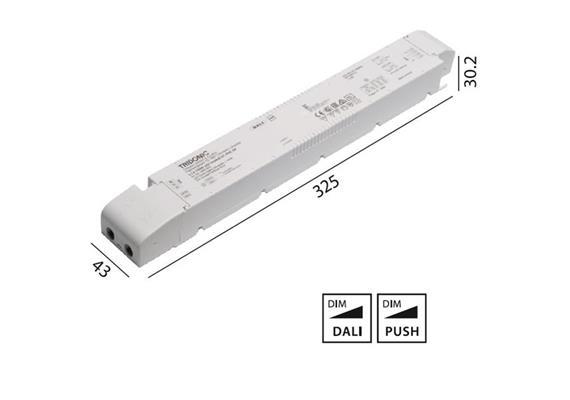 Konverter LCA 24V 150W Dali -switch-Dim weiss  240V/ DC L=325 B=43 H=30.2mm/ IP20