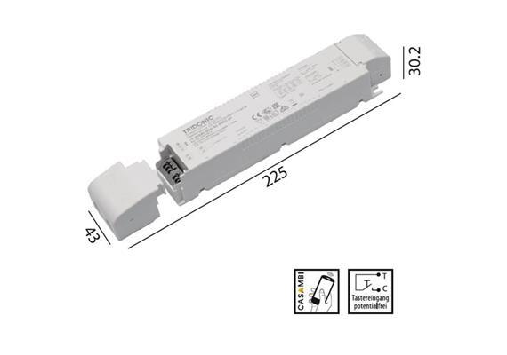 Konverter LCA 24V 60W Casambi-switch-Dim weiss  230-240V/ L=225 x 43 x 30.2mm / IP20
