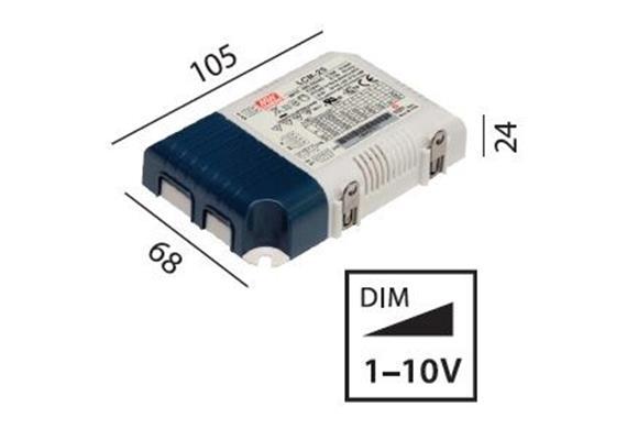 Schaltnetzgerät LCM-25 / 25W / 1-10V 180-240V / L=105 B=68 H=24