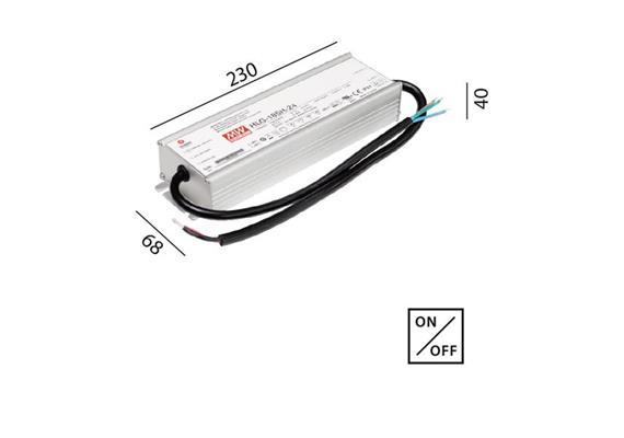 Schaltnetzteil 24V DC 185W IP67 weiss  230V/24V DC / L=230 B=68 H=40