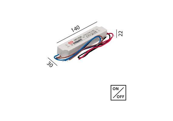 Schaltnetzteil 24V DC 18W IP67 weiss  230V/24V DC / L=140 B=30 H=22