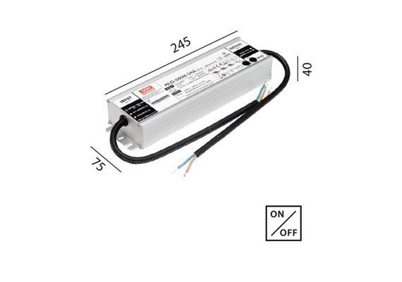 Schaltnetzteil 24V DC 240W IP67 kabel  230V/24V DC / L=245 B=75 H=40