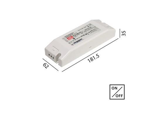 Schaltnetzteil 24V DC 60W weiss  230V/24V DC / L=181.5 B=62 H=35