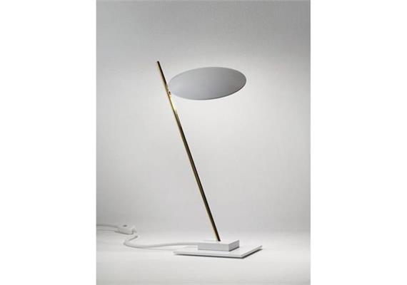 Tischleuchte Lederam T1 LED 17W/2700°K Weiss/Satin 230V/1400lm H=41cm base 15x15 cm