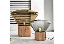 Tischleuchte Muffins Wood 02 Glas smoke grey 230V E27 6.5W 2200K 480lm / D=530 H=506 IP20