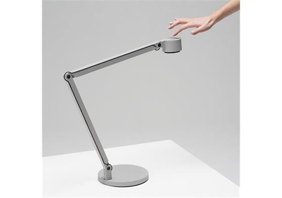 Tischleuchte Winkel w127 LED 3000° grau 1-9W H=360 Fuss D=180 Kopf D=96 dimmbar