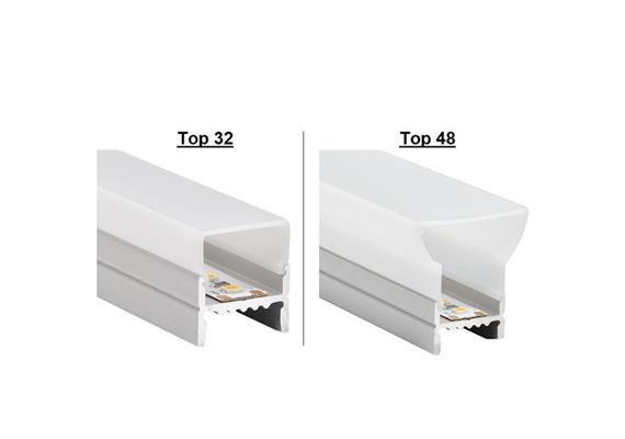 Wand-Deckenaufbauprofil Top 32/Top 48 für LED alu eloxiert B=19.5 L=1000mm