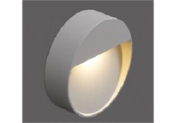 Wandleuchte LED 1x3.3W 2700°K silbergrau IP65  230V / D=102 T=34 CRI85 331lm