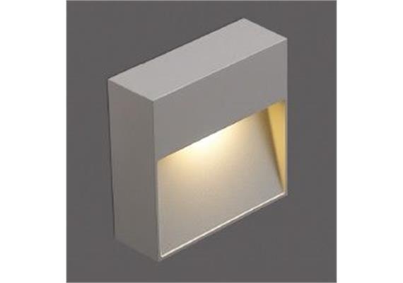 Wandleuchte LED 1x3W 2700°K grau IP65 230V / H=102 B=102 T=34 CRI80 331lm