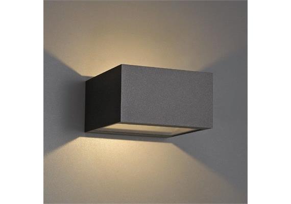 Wandleuchte POLAR LED up down 1x13.6W 2700°K dunkelgrau 230V/350mA DC/L=125x125 H=70 IP54