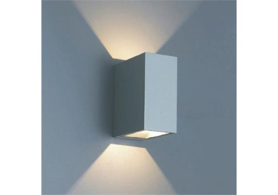 Wandleuchte QUBIT L LED 2x4.6W 2700°K silber IP65 230V/24V/500mA DC / H=125 B=60 T=105