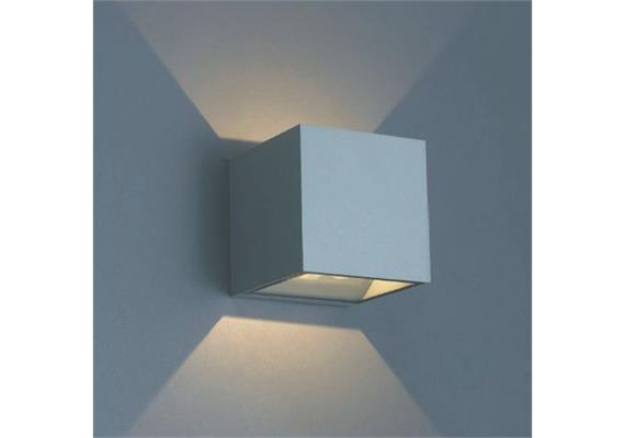 Wandleuchte QUBIT Q LED 1x9.3W 2700°K silberg IP54 230V/24V/500mA DC / H=102 B=102 T=105