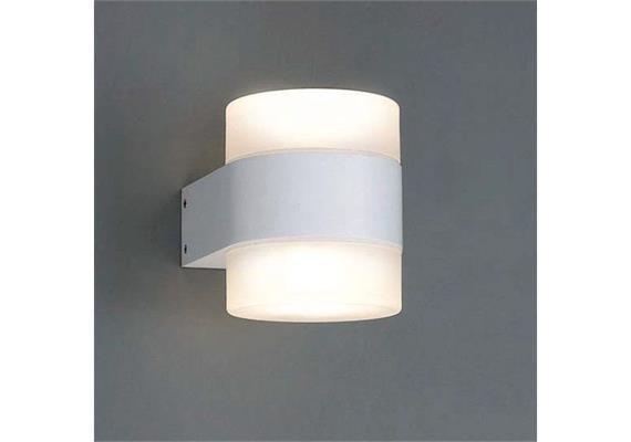 Wandleuchte Twin O LED 2x4W 2700°K alu satin IP 54  230V/24V/350mA DC / H=114 L=92 T=127